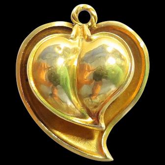 Antique 14k Gold Heart Shape Vinaigrette Pendant