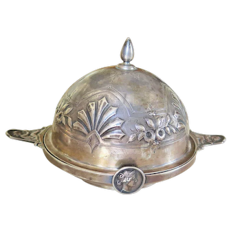 19th Century Gorham Coin Silver Medallion Covered Butter Dish