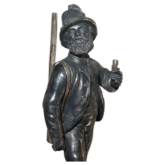 19th C WMF Wurttembergische Metallwarenfabrik Huntsman Statue w/ Flintlock Rifle
