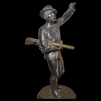 19th C WMF Wurttembergische Metallwarenfabrik Huntsman Statue w Flintlock Rifle