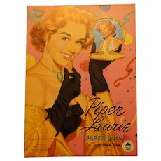 Vintage Piper Laurie Look Thru Paper Doll Book Uncut 1953 Merrill Publishing Company