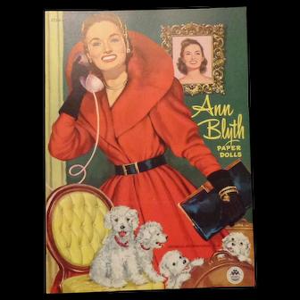 Vintage Ann Blyth Paper Doll Book Uncut 1952 Merrill Publishing Company