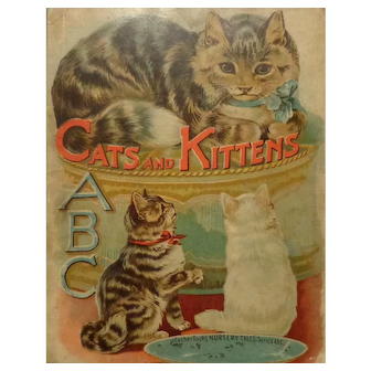 """Vintage Raphael Tuck & Sons Child's Book  """"Cats and Kittens"""" #5070 from ABC Series"""