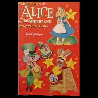Alice in Wonderland Punchout Book  Whitman/Walt Disney 1951  Very Rare Book
