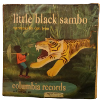 Vintage The Adventures of Little Black Sambo Book 2 Yellow and Blue RCA 45 Records 1949