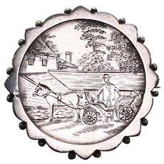 Victorian Sterling Silver Engraved Pendant or Brooch, featuring a Gentleman with his Horse and Carriage