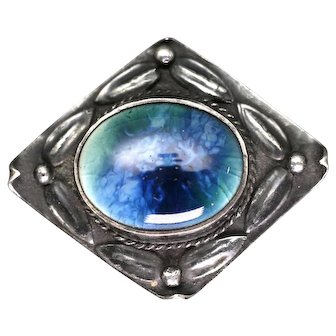 Arts and Crafts Silver and Ceramic Cabochon Brooch circa 1906