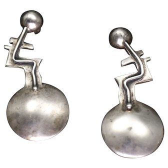 Vintage Modernist Sterling Silver Abstract Figural Earrings, circa 1960