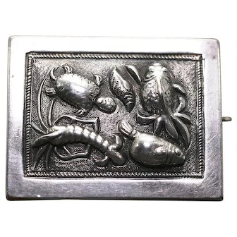 Victorian Sterling Silver Sea Creatures Brooch, with Fish, Lobster, Turtle and Shell