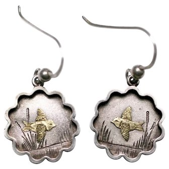 Victorian Aesthetic Period Bird Earrings, Sterling Silver circa 1890