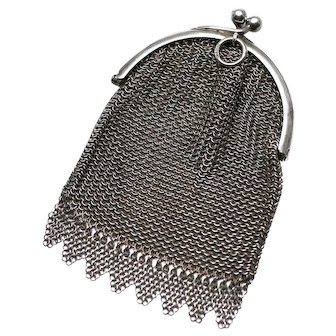 19th Century Dutch Silver Chatelaine Mesh Purse,