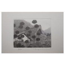 Tanaka Ryohei Original Etching of Roofs, limited edition from 1981