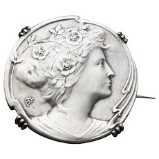 Antique Art Nouveau Sterling Silver Brooch, Woman and Roses, Signed