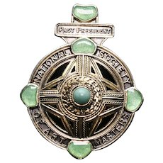 Antique Silver Gilt Art Masters Medal with turquoise and green enamel