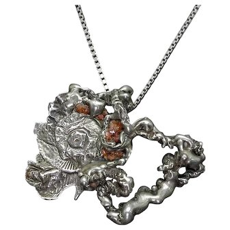 Vintage Abstract Brutalist Sterling Silver and Raw Amber Pendant, Mid Century