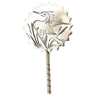 Victorian Aesthetic Heron Sterling Silver Stick lapel Pin c1890