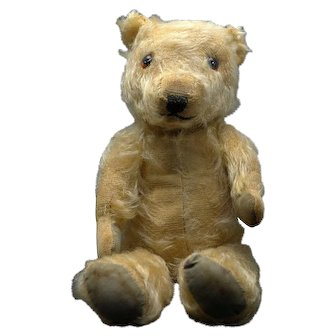 Vintage Teddy Bear 1930s, Mohair with glass eyes and sewn nose