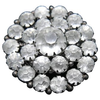 Edwardian Sterling Silver and Frosted Paste Glass Brooch, glowing white stones, wedding brooch