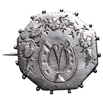 Victorian Lucky Horseshoe Sterling Silver Brooch, 1888