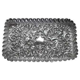 Antique Sterling Silver Pin Tray or Card Tray, by Henry Mathews, 1900