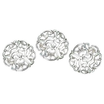 Victorian Sterling Silver Large Buttons, Hallmarked 1900, Set of Three