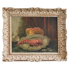 Early 20th century, French Oil on Panel, Lobster Liaison