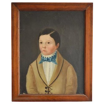Early 19th Century, Naive Oil Painting of a French Boy