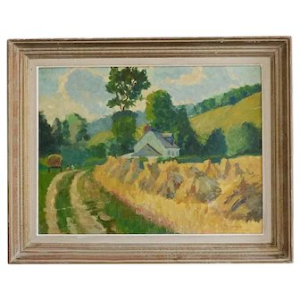 Mid 20thC French Oil Painting; Haystacks