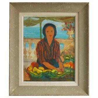 1920's Oil Painting; Fruit Seller on a Sunny Balcony