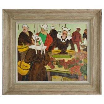 Mid 20th Century, Oil Painting; Breton Market