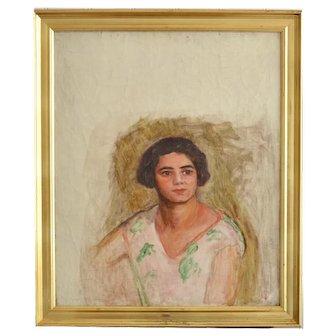 1920's, Swiss, Oil Portrait of a Lady
