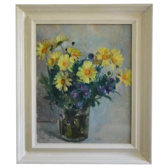 1955, Oil Painting, Yellow Daisies; Leon Delarbre