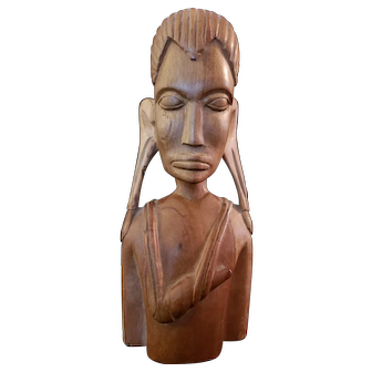 African wood carved bust