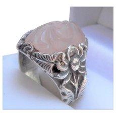 Chinese Export Carved Rose Quartz Ring