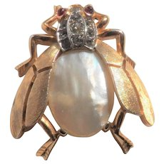 TRIFARI  Mother of Pearl Insect Fly Brooch -  Fantasia 1950s Vintage
