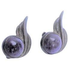 Mexican Amethyst Sterling Silver Earrings - vintage screw-backs