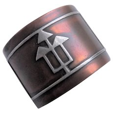 Art Deco - Craftsman made Napkin Ring - Sterling Silver on Copper