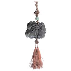 Chinese carved Nephrite Jade Pendant with Tassel, Large Size