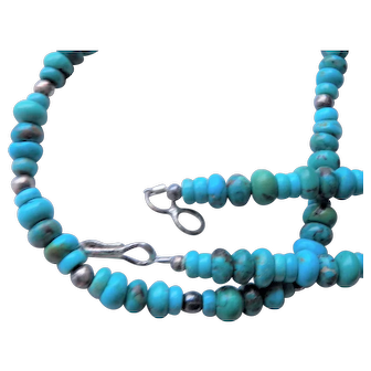 Southwestern Turquoise hand cut Bead Necklace - maybe Tribal
