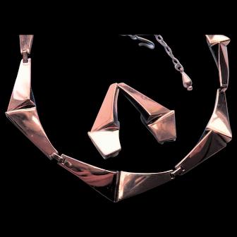 RENOIR Copper Necklace and clip Earrings Set - Geometric Modernist