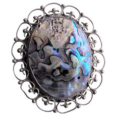 old Mexican Sterling Abalone Brooch / Pendant - Filigree Setting