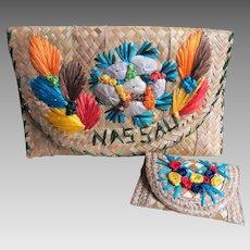 Straw and Colorful Raffia Clutch Purse - Shell  Embellishments - Cruise or Beach Wear