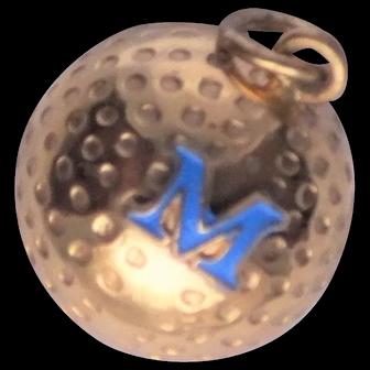 """Gold Filled Blue Enamel """"M"""" Golf Ball Charm - Vintage 3D"""
