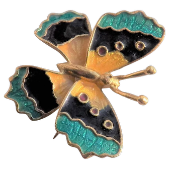 Corletto, Italy 18K Gold Enamel Butterfly Pin