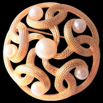 TRIFARI  Brooch Celtic Knot - faux Pearls - Vintage