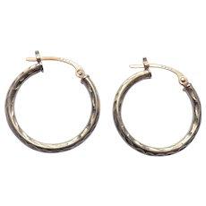 "14K Yellow Gold 3/4"" Hoop Earrings"