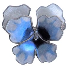 DAVID ANDERSEN  Enameled Sterling Pansy Pin - Norway