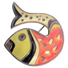 DAVID ANDERSEN Enameled Sterling Fish Brooch - Norway