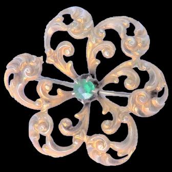 10K Gold Victorian Pin - Scrolled Pinweel Motif