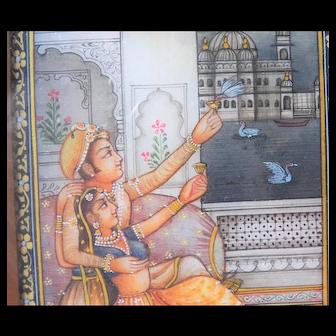 Erotic India Miniature Painting - Gouache Watercolor
